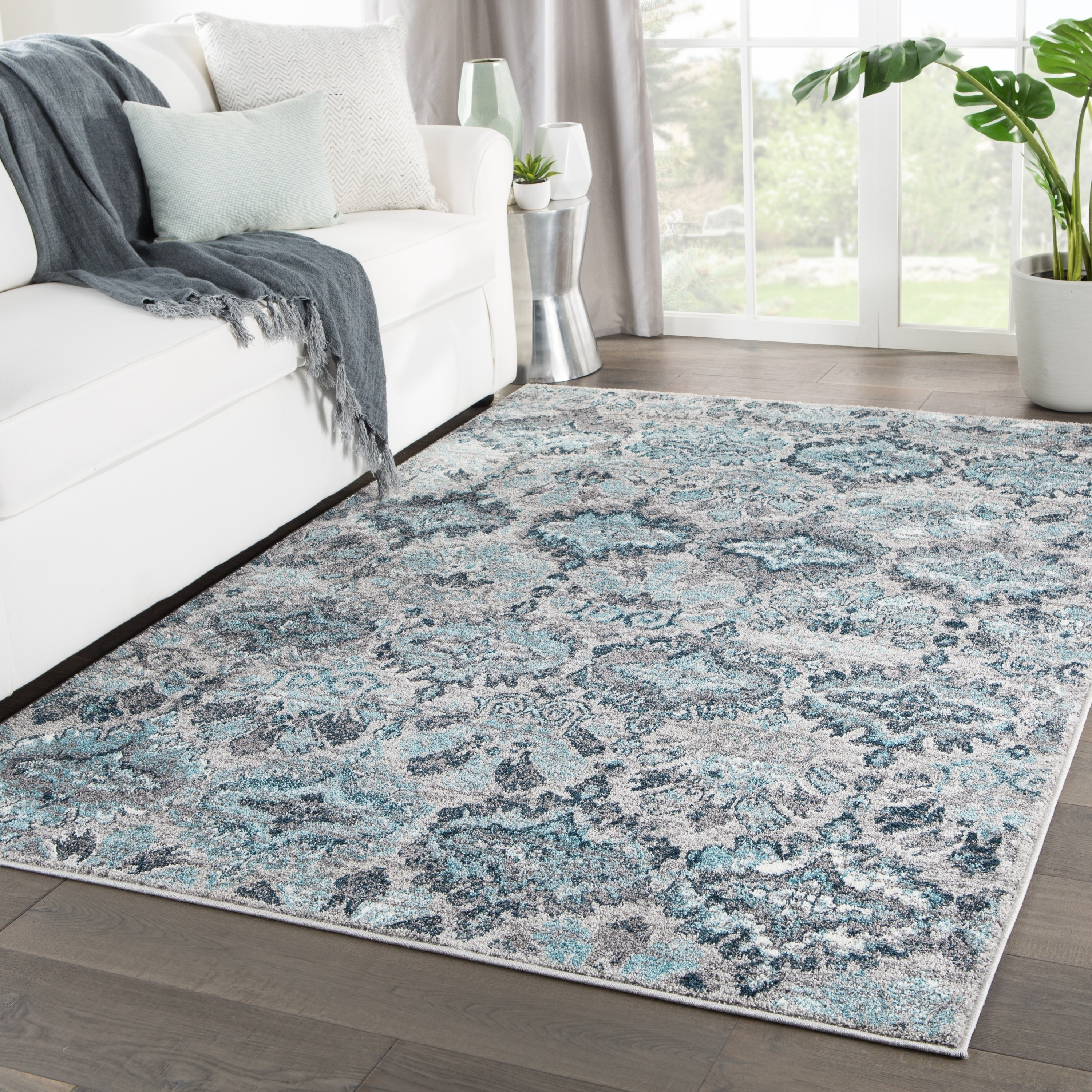 Picture of: Shop Souta Ikat Gray Turquoise Area Rug 8 10 X12 On Sale Free Shipping Today Overstock 23554251