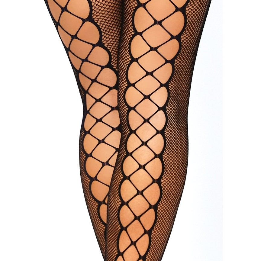 f790c4518b Shop Leg Avenue Seamless net faux lace up long sleeved bodystocking ...