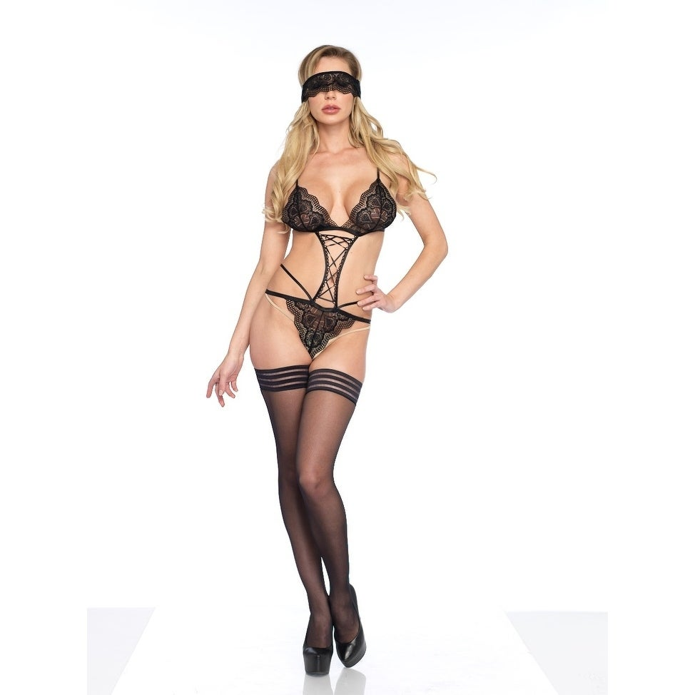 2142caa8759 Shop Leg Avenue 2PC.Sweetheart scalloped lace g-string teddy with ribbon  lace up