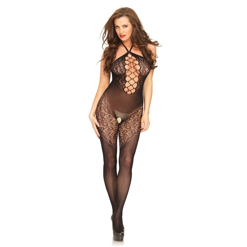 3118dc8eff9 Shop Leg Avenue Seamless opaque halter bodystocking with lace accents and  net center panel