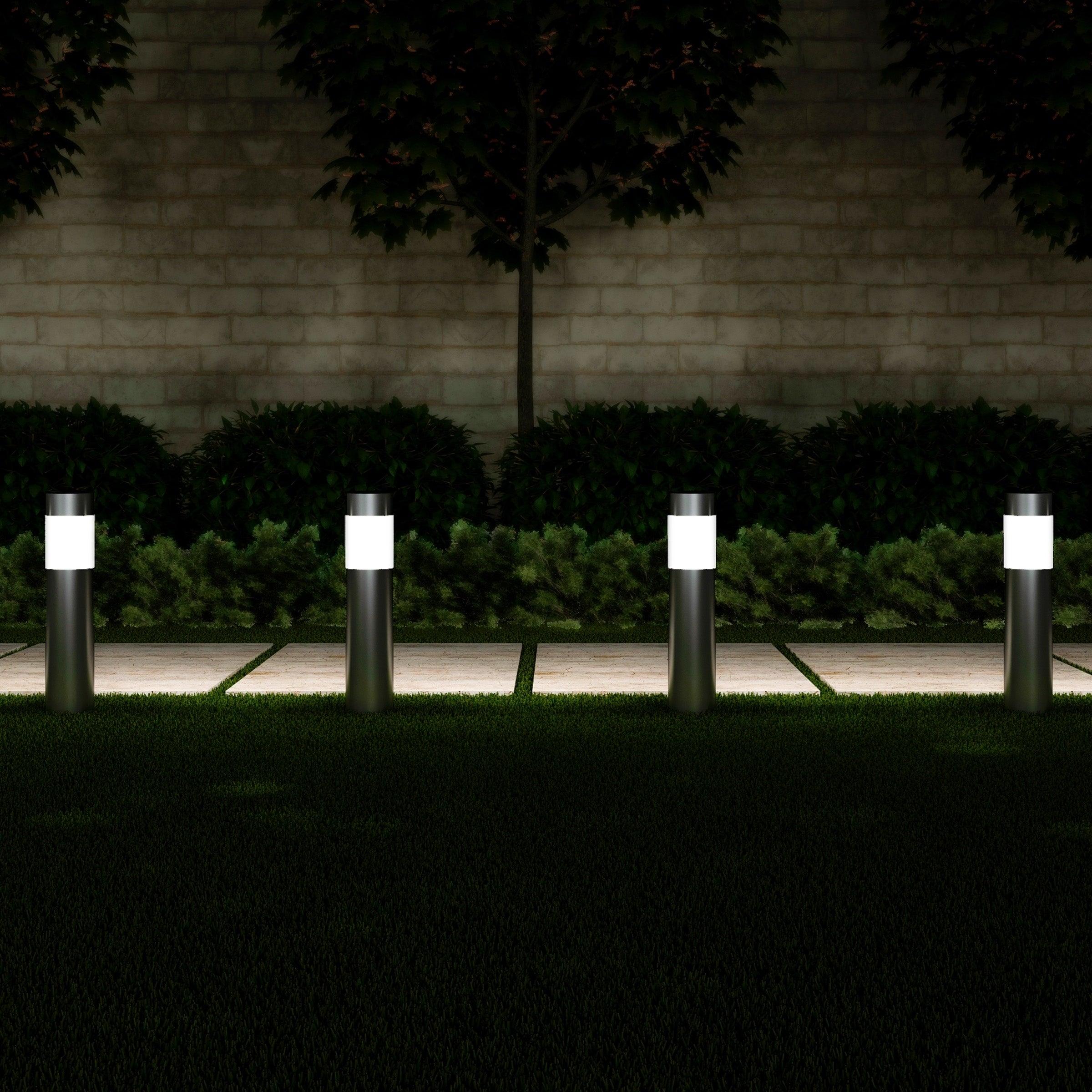 Diamond Solar Power LED Light Outdoor Garden Modern Stylish Stainless Steel