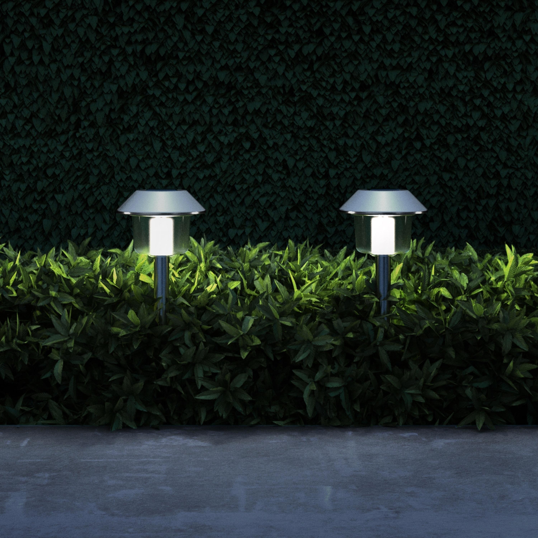 Solar Pathway Lights 17 Stainless Steel Set Of 6 Pure Garden