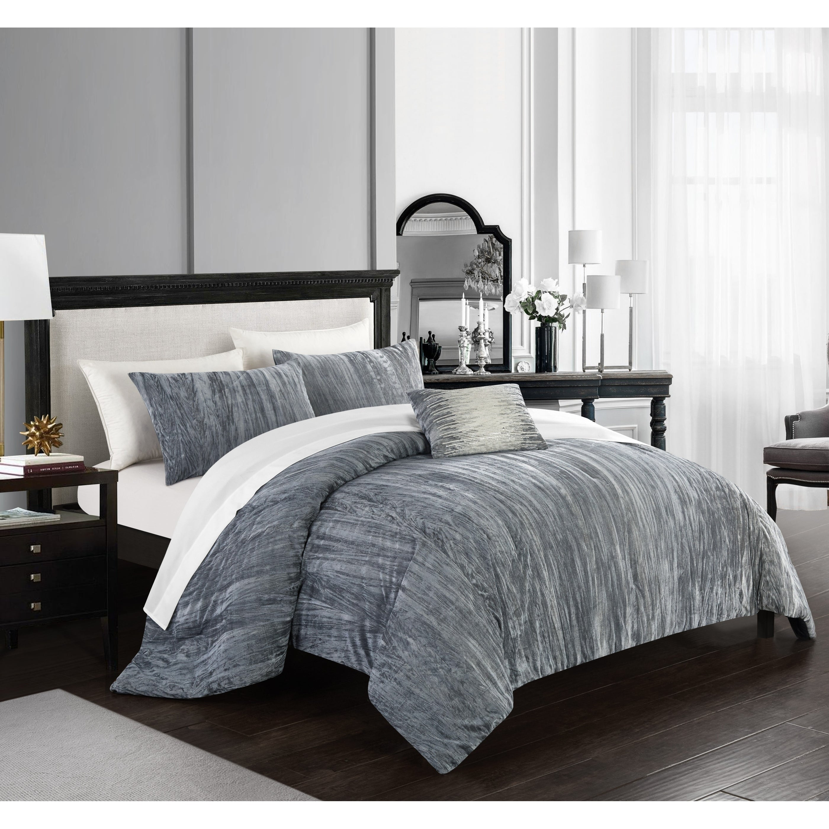 ff9110a0064c6 Shop Chic Home Kerk 4 Piece Comforter Set Crinkle Crushed Velvet Bedding -  On Sale - Free Shipping Today - Overstock - 23560988