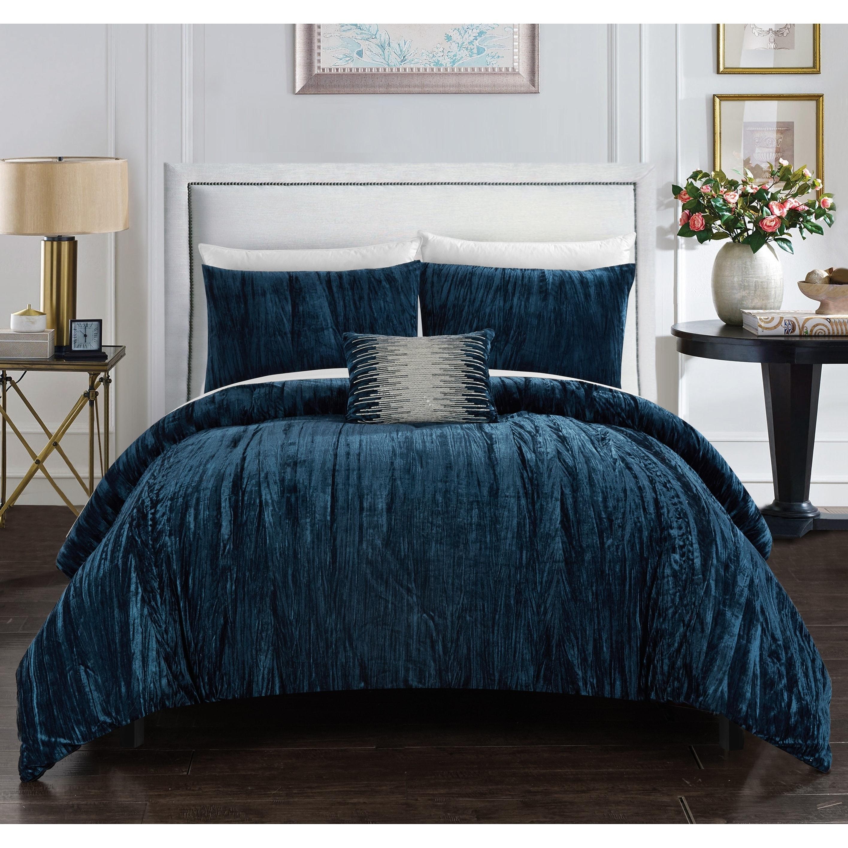 shop chic home kerk 4 piece comforter set crinkle crushed velvet bedding free shipping today overstockcom 23561620 - Velvet Bedding