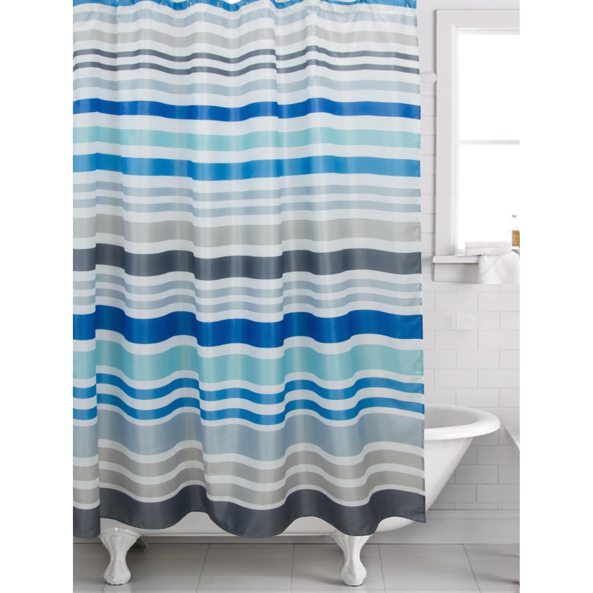 Shop Hip Sripe Blue Shower Curtain