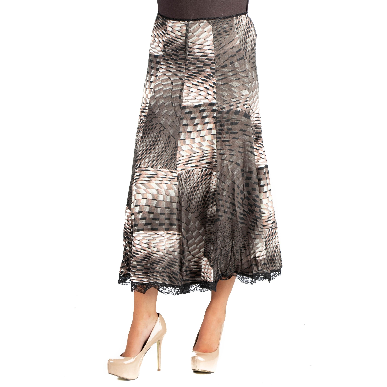 24 7 Comfort Apparel Flowy Geometric Print Midi Skirt