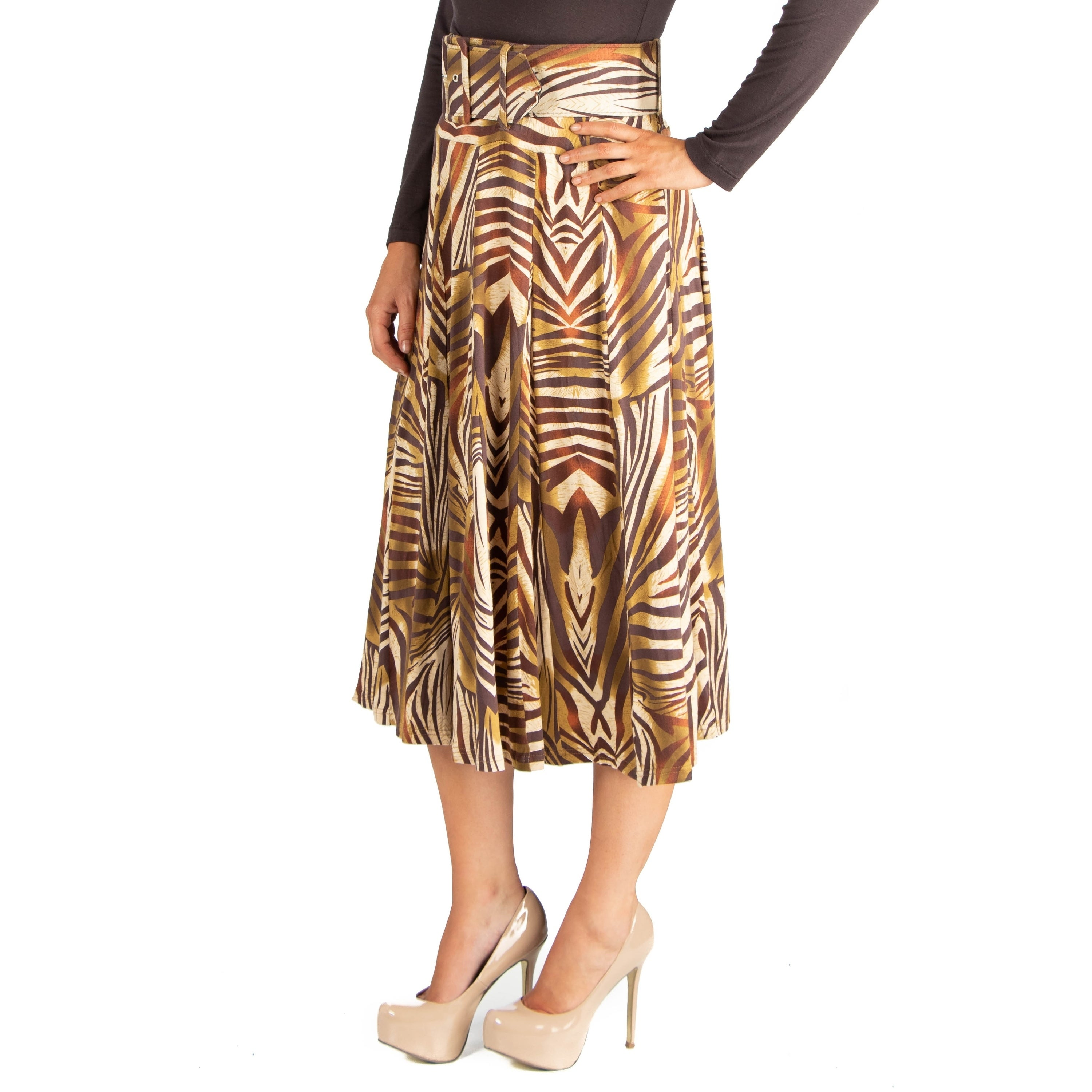 320961bb16 Shop 24/7 Comfort Apparel Womens Animal Print Belted Midi Skirt - On Sale -  Free Shipping On Orders Over $45 - Overstock - 23562343