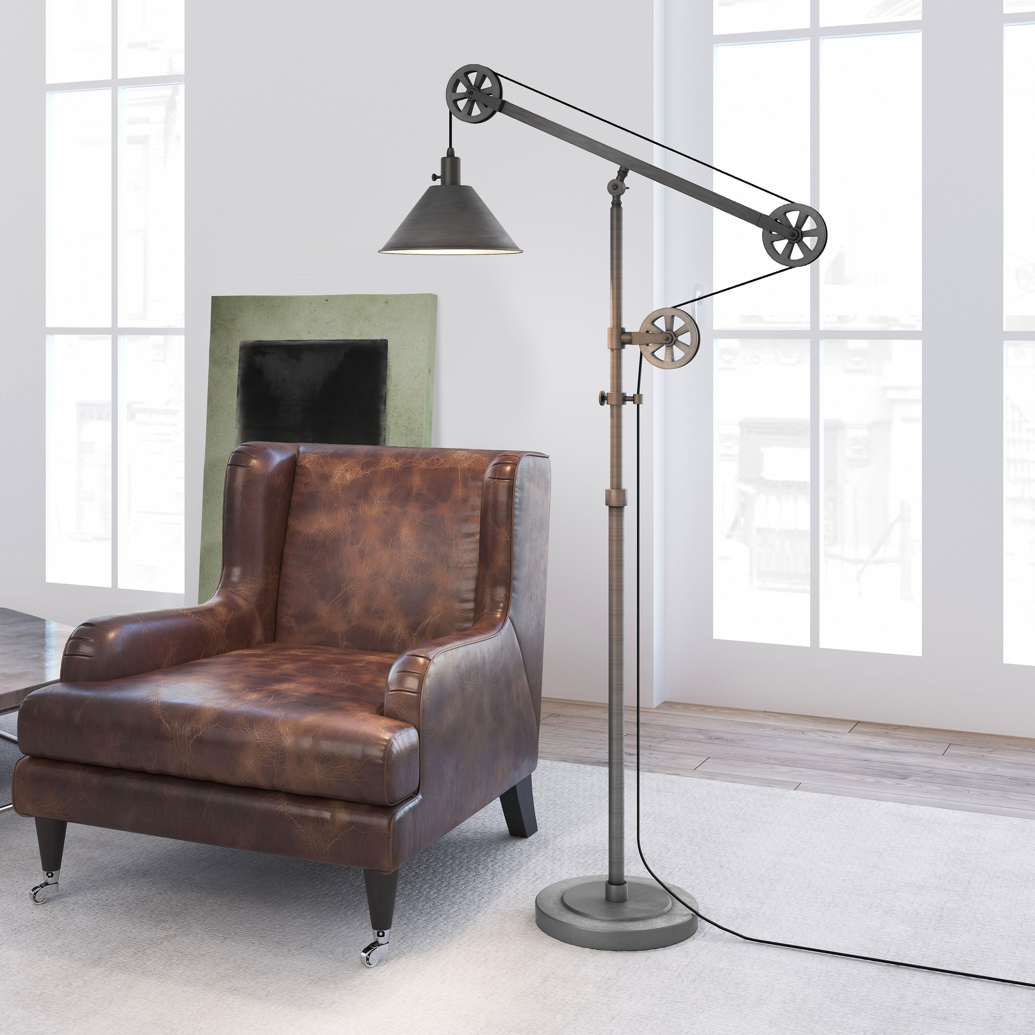 Descartes Farmhouse Floor Lamp With Pulley System Optional Finishes