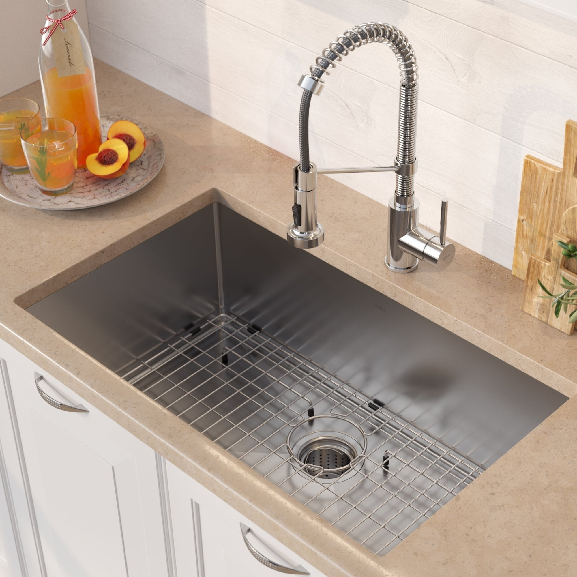 Kraus 30 Inch Stainless Steel Kitchen Sink Faucet Soap Dispenser Set On Free Shipping Today 23569469