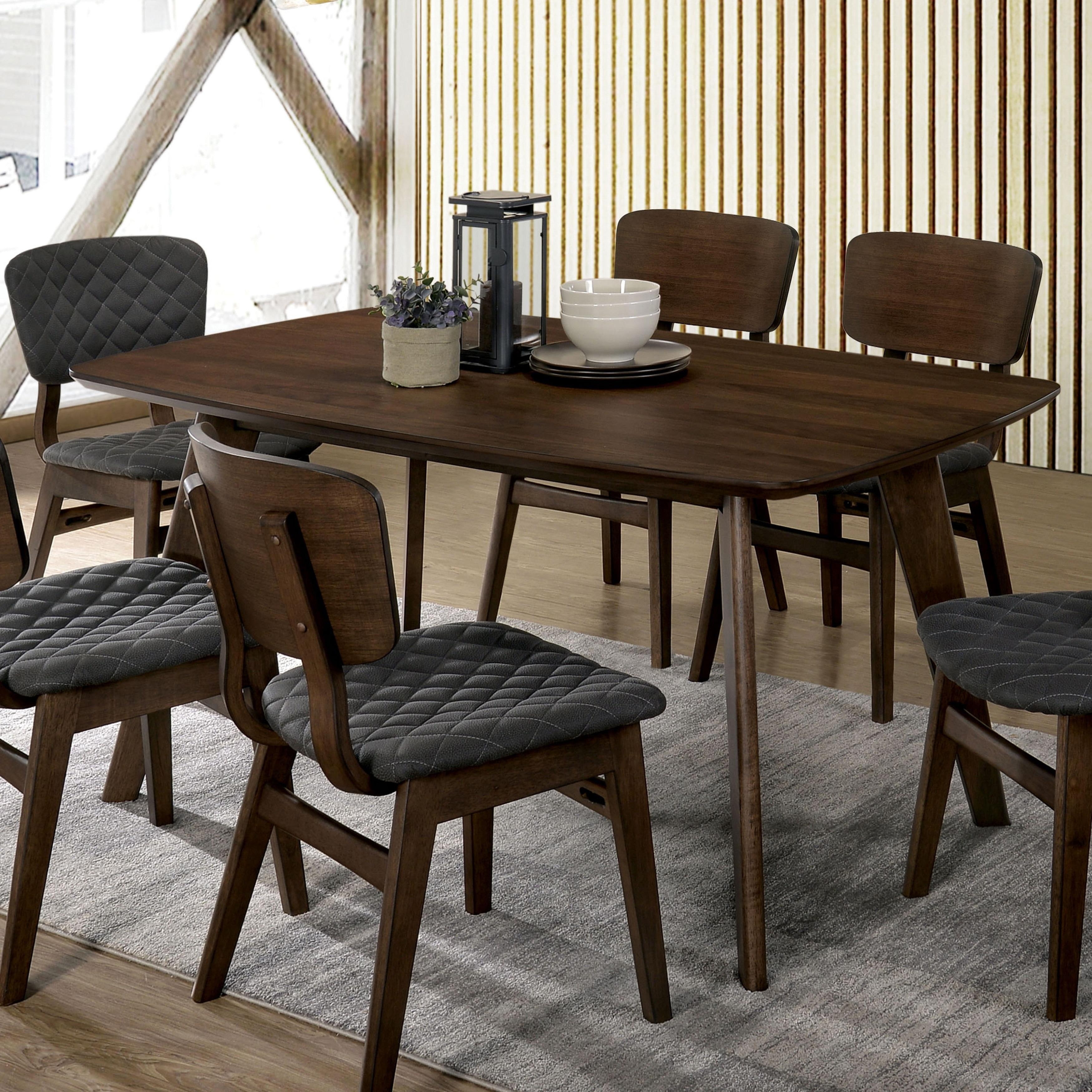 Furniture of america liam mid century modern dining table walnut
