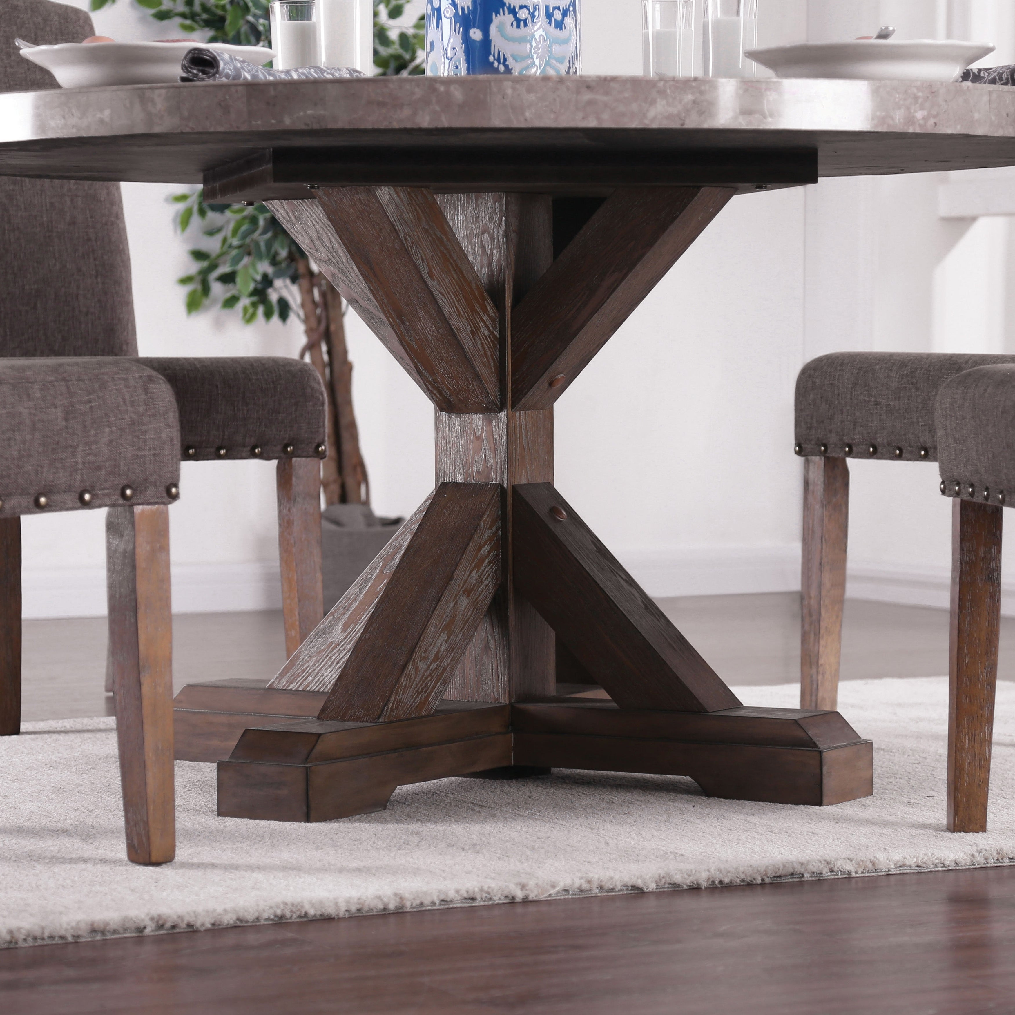 3dc0354ab7094 Shop Furniture of America Emmiyah Rustic Round Genuine Marble 54-inch  Dining Table - Natural - On Sale - Free Shipping Today - Overstock -  23570125