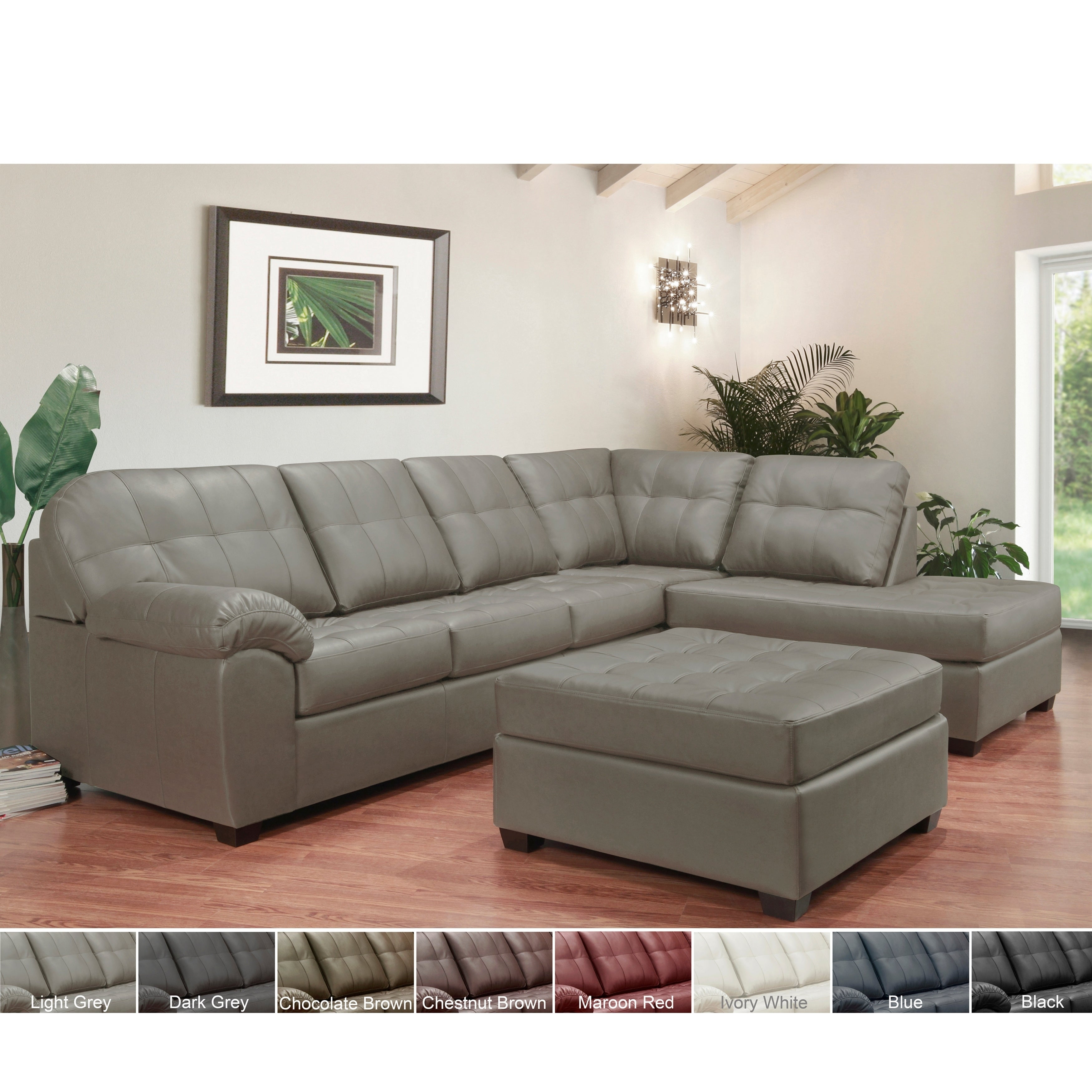Shop emerson top grain leather tufted sectional sofa and ottoman free shipping today overstock com 23572830