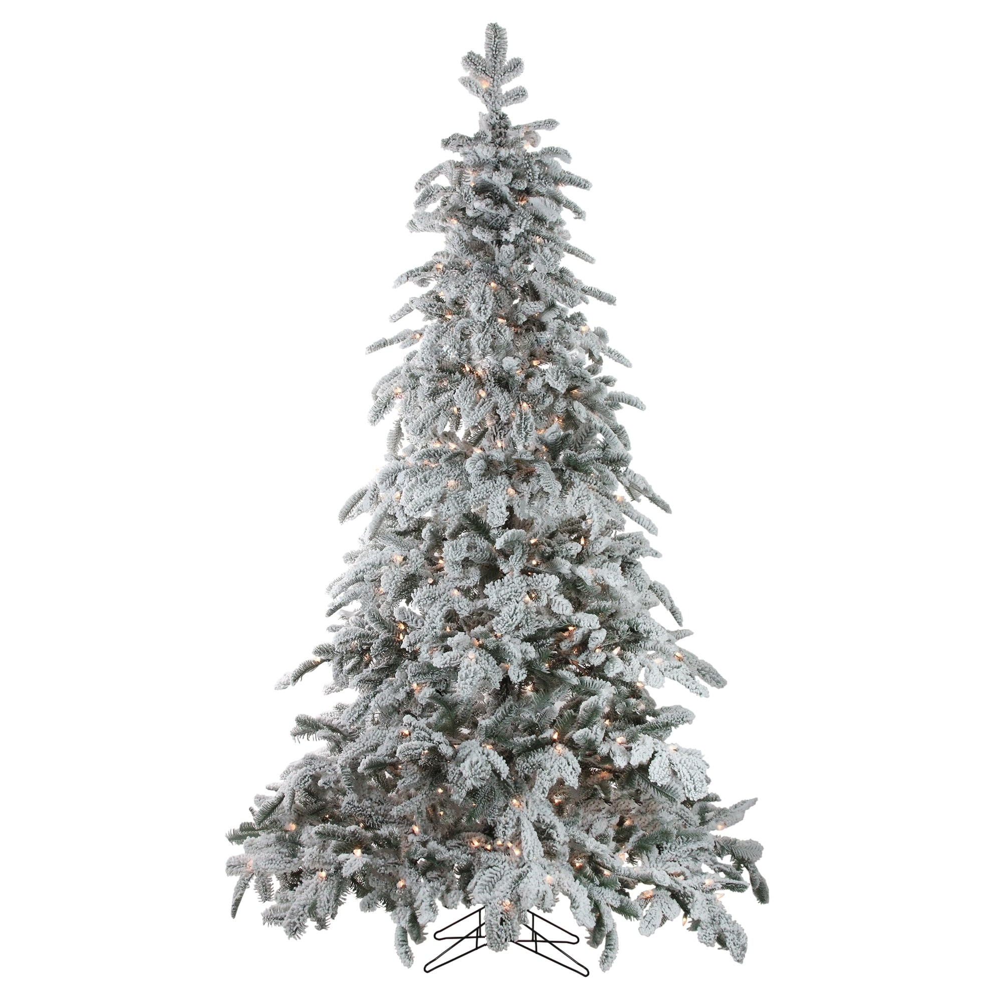 7 5 X 58 Pre Lit Flocked Whistler Noble Fir Artificial Christmas Tree Clear Lights