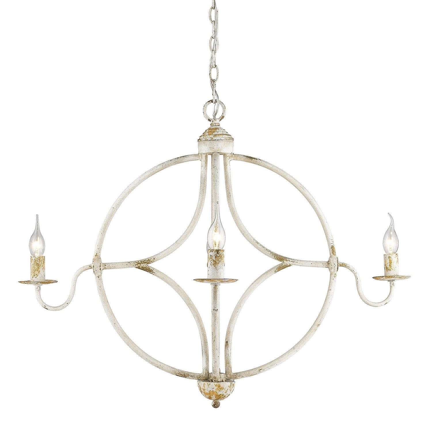 The gray barn pemberley antique ivory metal 4 light rustic chandelier