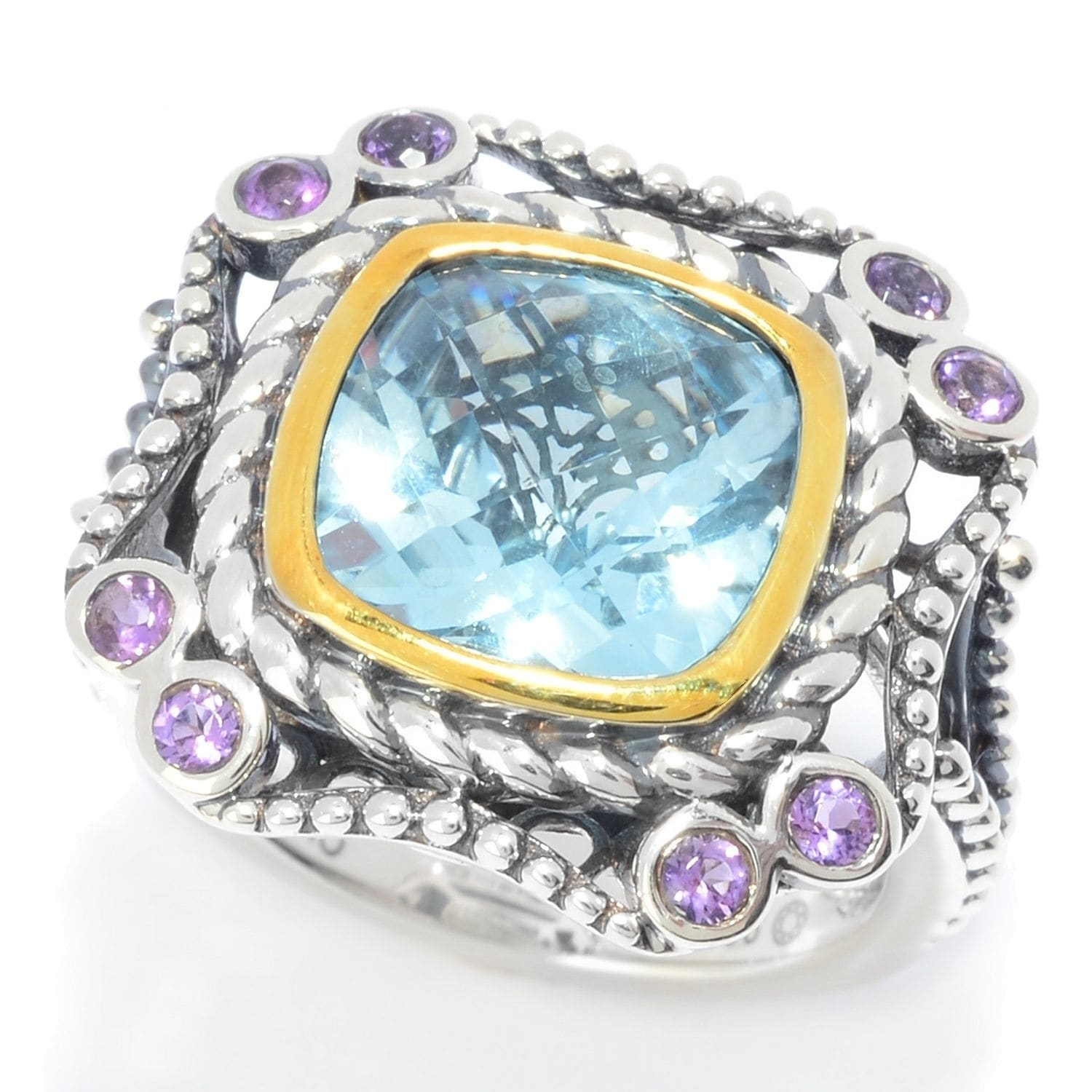 ed12534bee Pinctore Sterling Silver 10mm Cushion Shaped Sky Blue Topaz Textured Ring