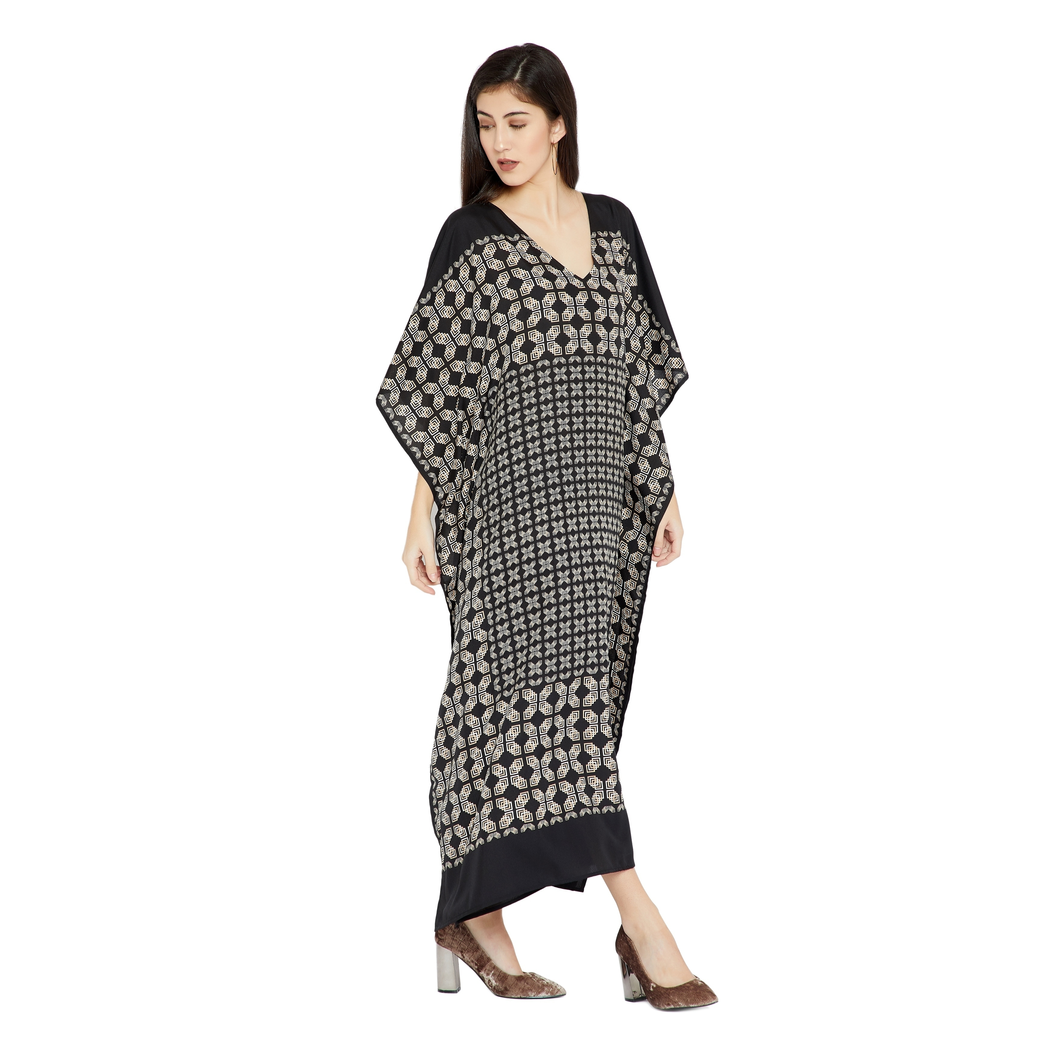 07339c31d5 Shop Black Caftan Women Geometric PlusSize Kaftan Dress Maxi Casual Evening  - Free Shipping On Orders Over $45 - Overstock - 23578541