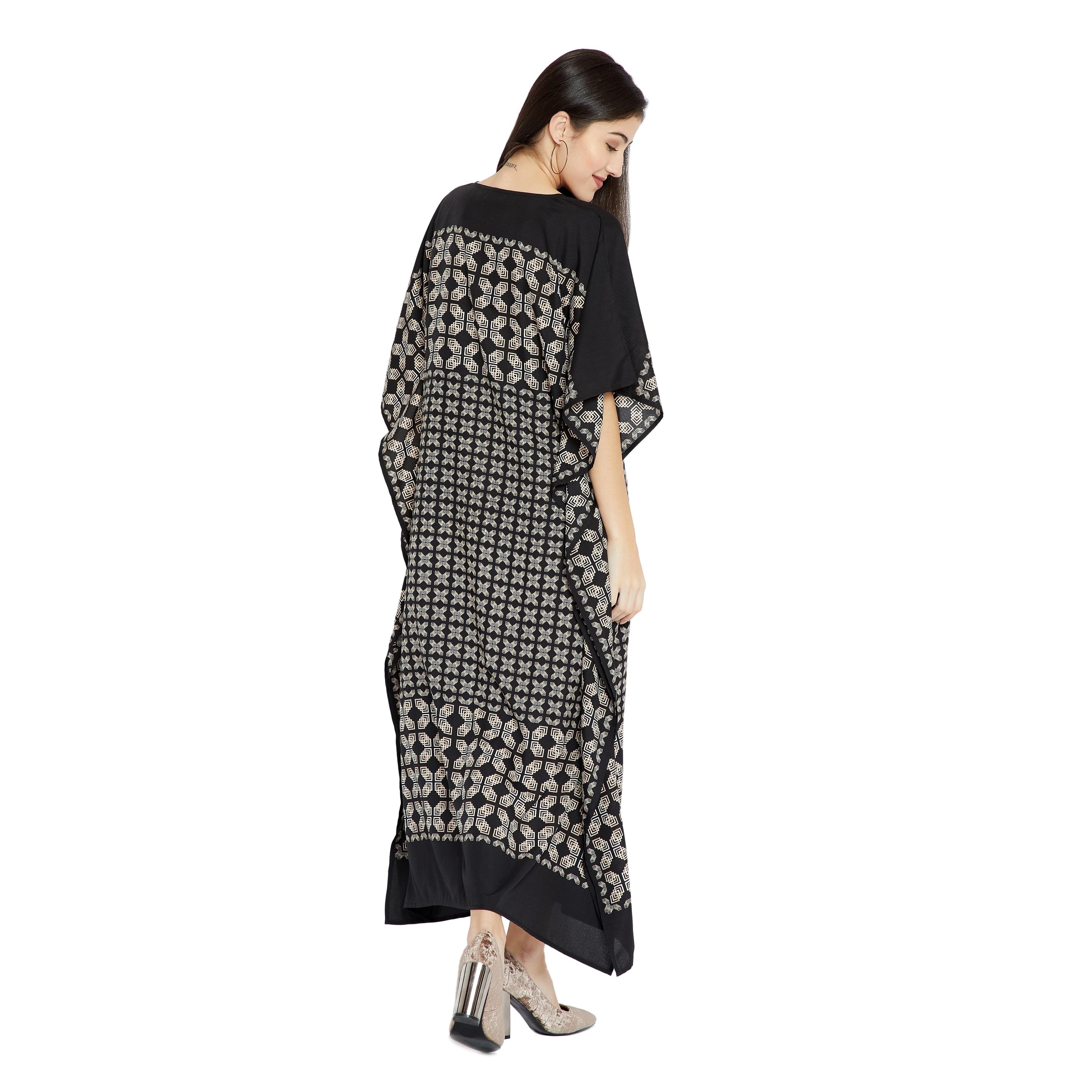 8c642c47c3e Shop Black Caftan Women Geometric PlusSize Kaftan Dress Maxi Casual Evening  - Free Shipping Today - Overstock - 23578541