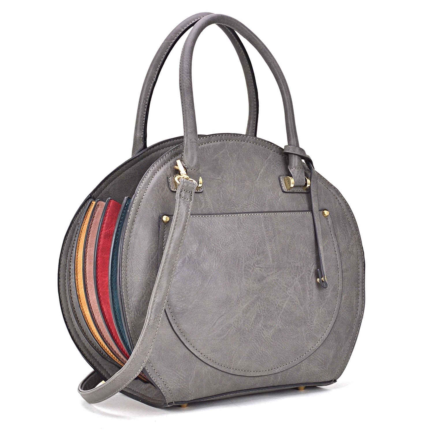 24ec722d24f6 Leather Oval shaped Satchel with Fanfold multi color edge design on both  sides