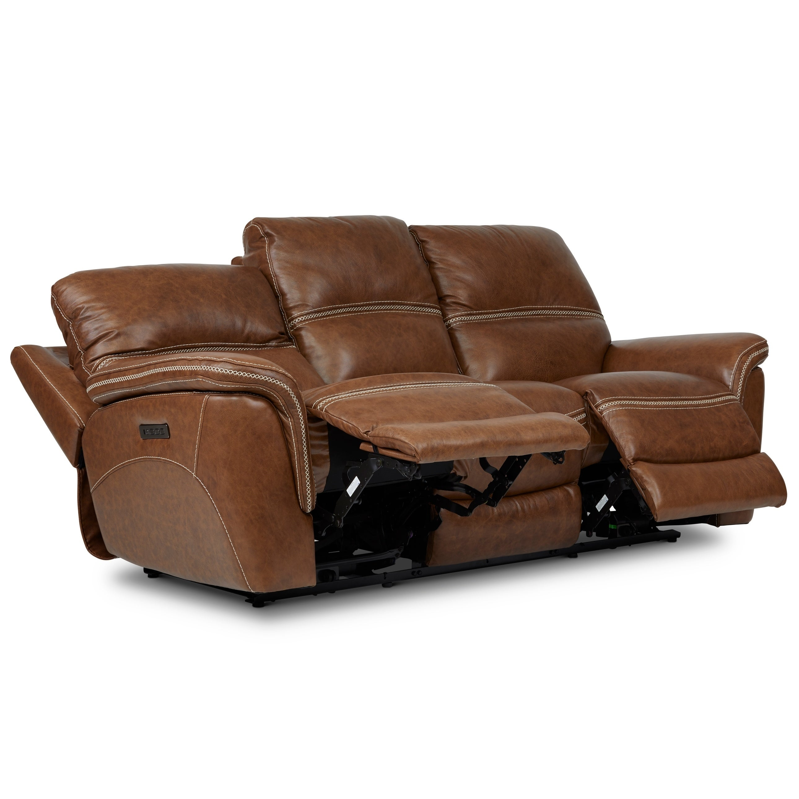 Mason Leather Reclining Sofa with Power Headrest and Lumbar Support - 40  inches high x 90 inches wide x 40 inches deep