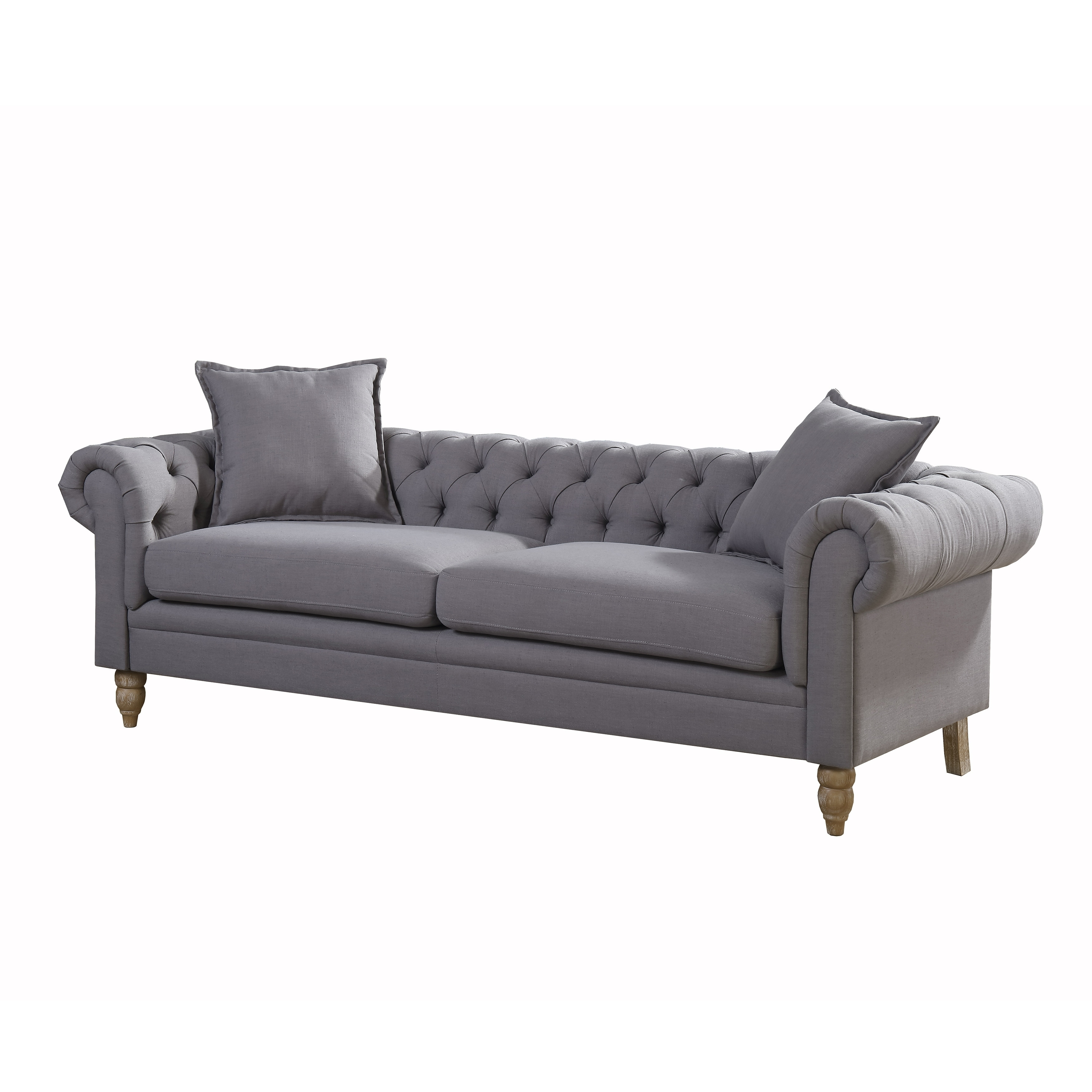 Juliet Contemporary Grey Upholstered Tufted Living Room Chesterfield Sofa