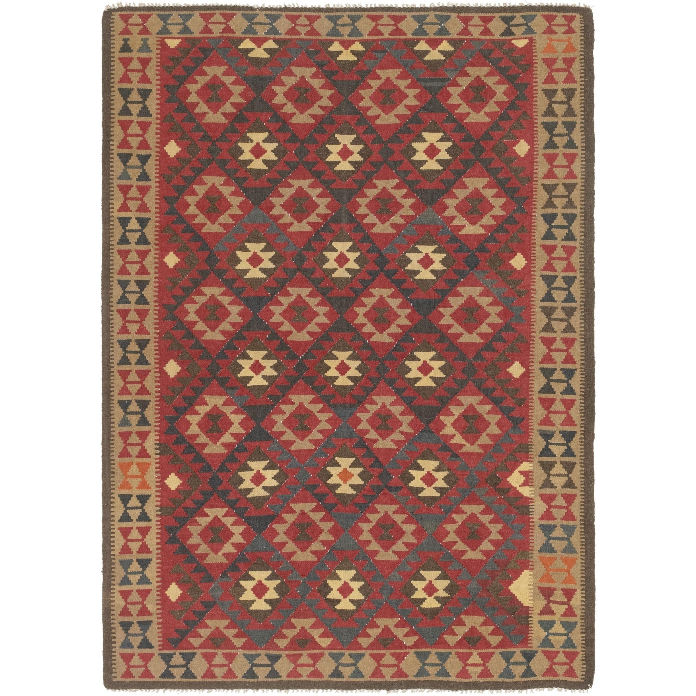 Shop Hand Woven Kilim Maymana Wool Area Rug 7 X 9 10 On Sale