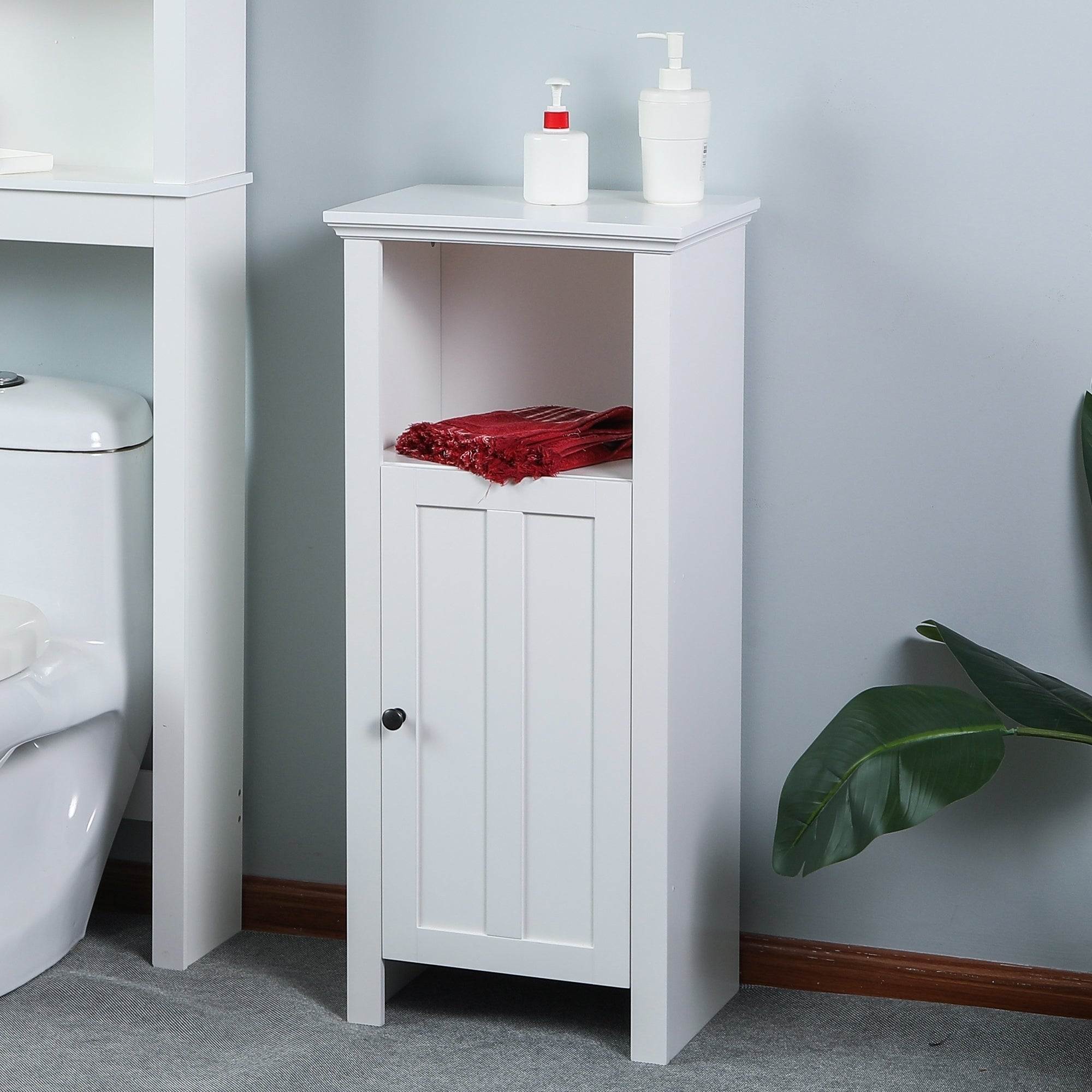 Shop White Wood Floor Bathroom Cabinet - Free Shipping Today ...