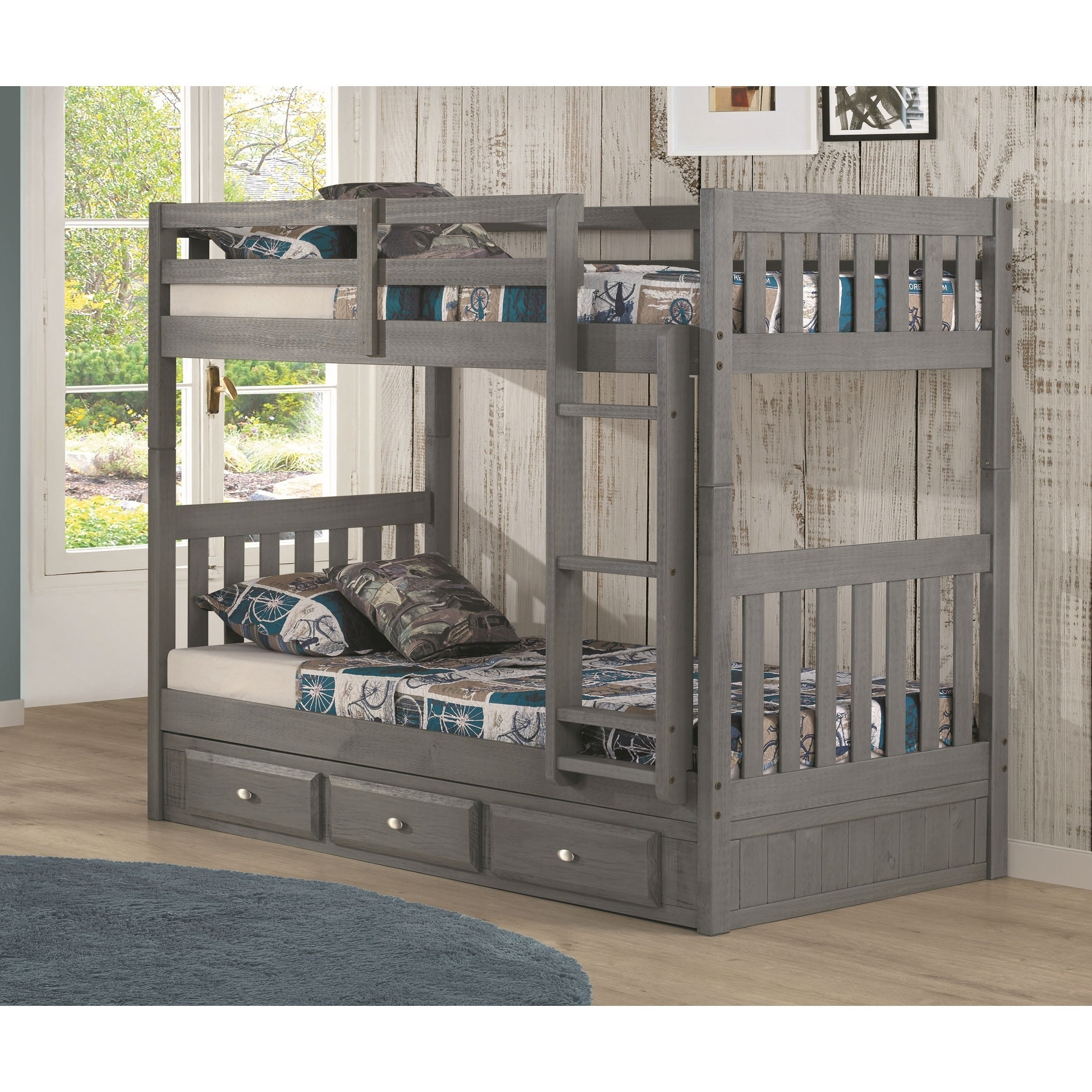 American Furniture Clics Solid Pine Twin Bunk Bed With Three Drawers In Charcoal