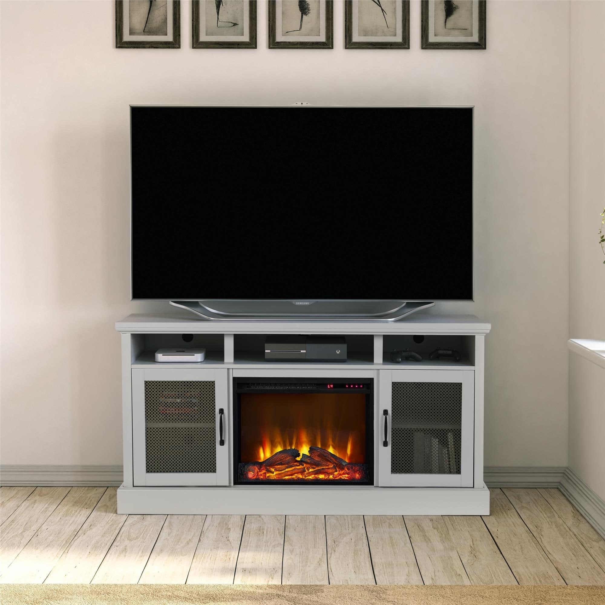 Shop Avenue Greene Bella Sera Dove Gray Tv Stand With Fireplace For