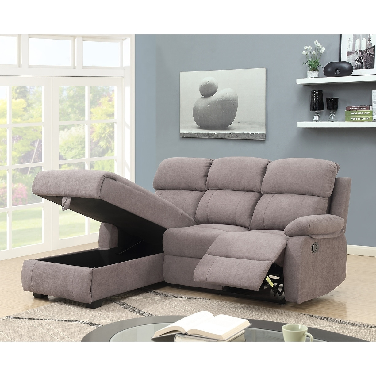 Melody Recliner L Shaped Corner Sectional Sofa With Storage 66 X 80 40 On Free Shipping Today 24015154