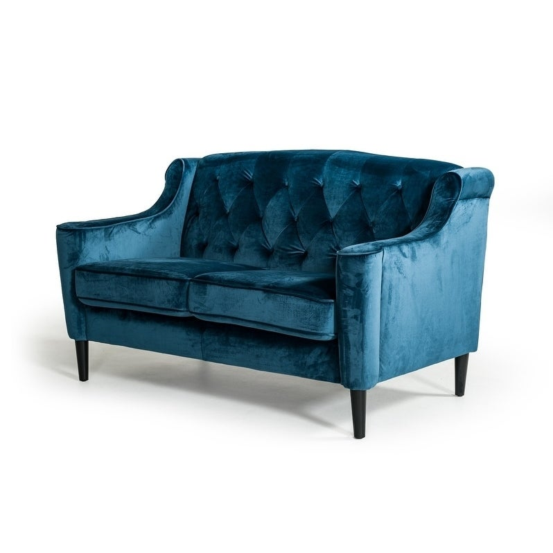 Shop Divani Casa Carly 3 Piece Transitional Blue Velour Sofa Set   Free  Shipping Today   Overstock.com   24015257