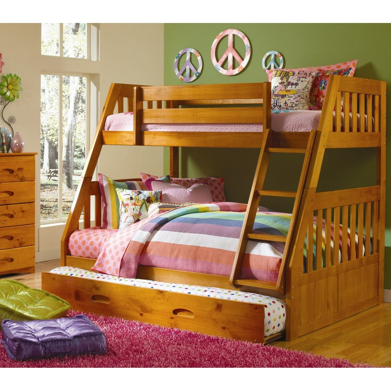 American Furniture Clics Honey Pine Staircase Twin Full Bunk Bed With Roll Out Trundle