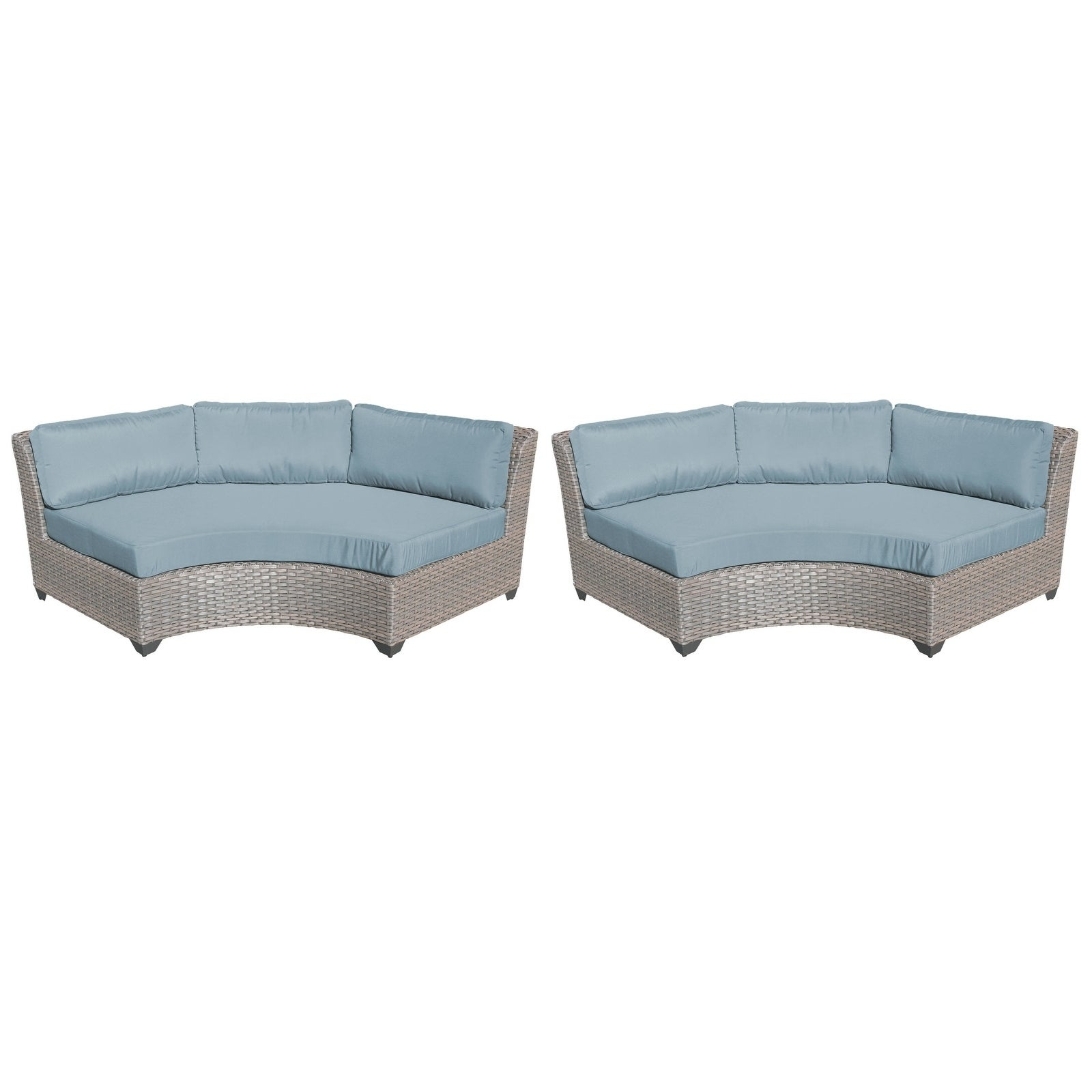 Tk Clics Florence Wicker And Aluminum Curved Armless Outdoor Sofa Set Of 2 Free Shipping Today 24017662