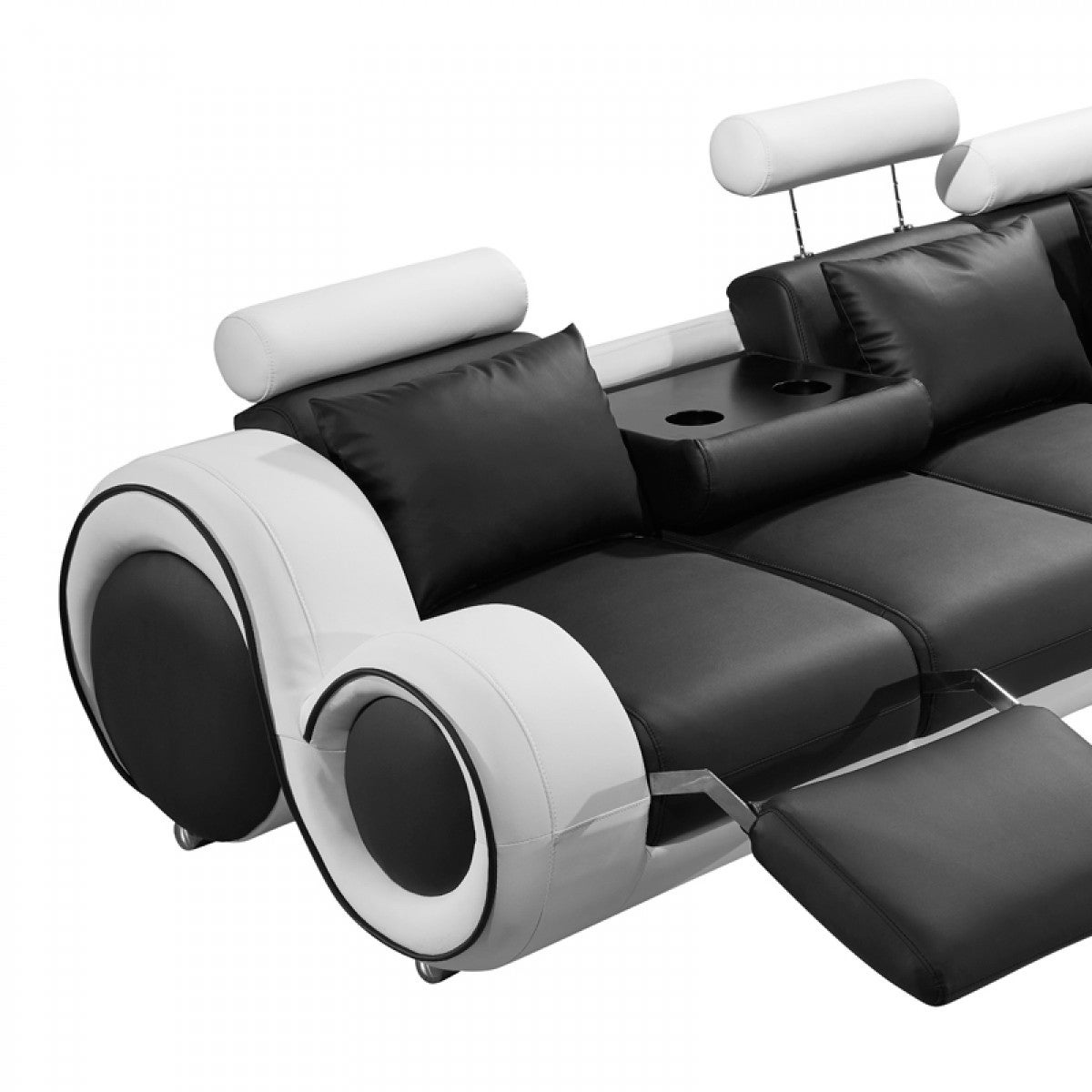 Divani Casa 4087 Modern Black And White Leather Sectional Sofa With Recliners Free Shipping Today 24018045