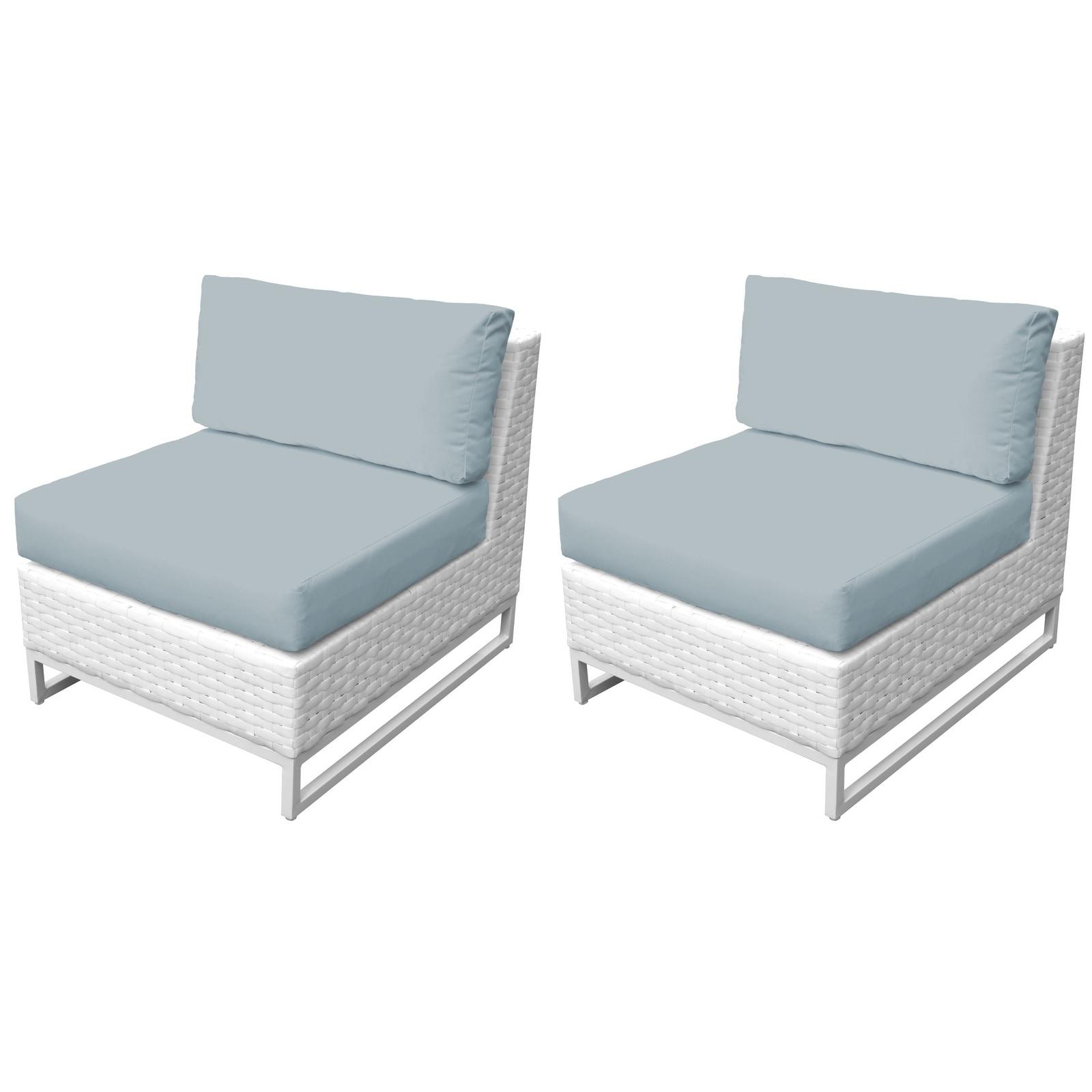 Shop tk classics miami wicker and aluminum outdoor armless sofa set of 2 free shipping today overstock com 24018237