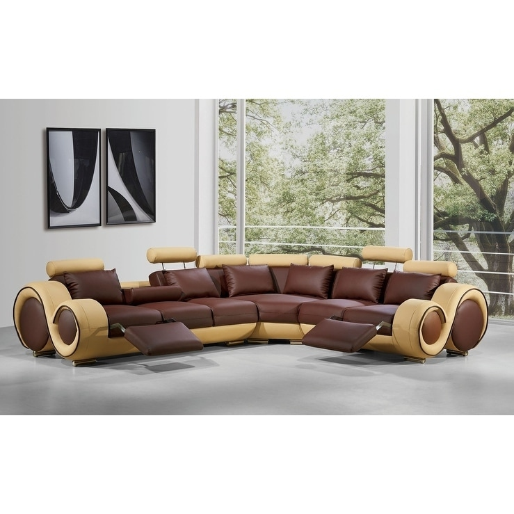 Divani Casa 4087 Modern Bonded Leather Sectional Sofa With Recliners