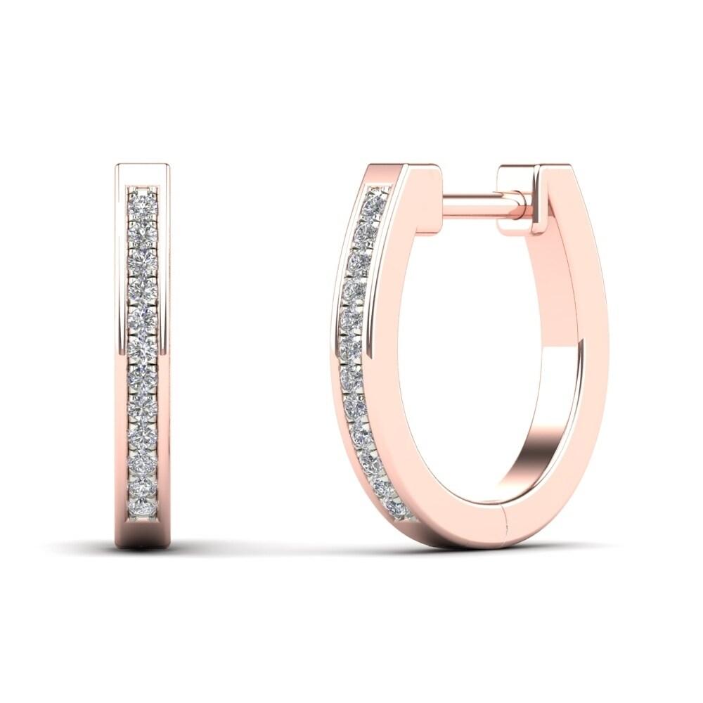 e92c25ea5aea9 AALILLY 10k Rose Gold Diamond Accent U-Hoop Earrings (H-I, I1-I2)