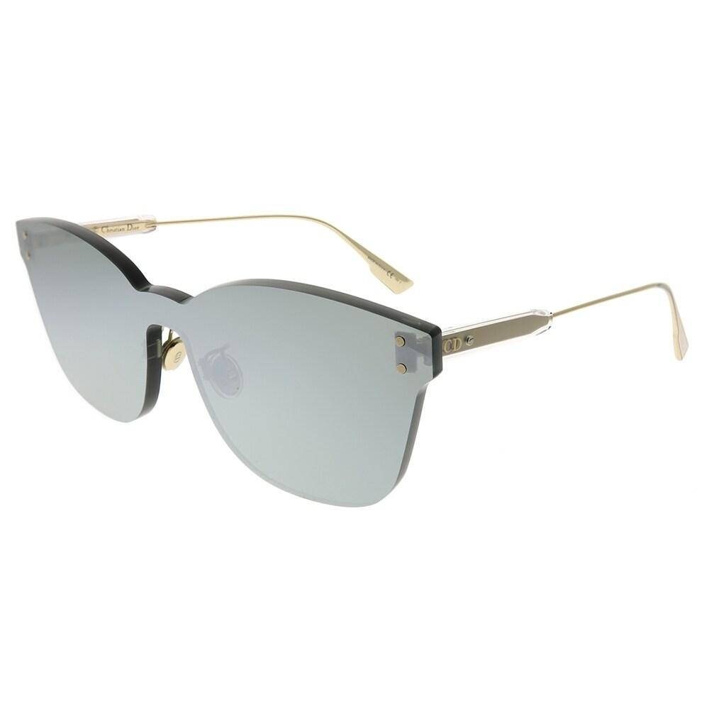 799e289b31764 Dior Rectangle Dior Color Quake 2 YB7 T4 Unisex Silver Frame Silver Mirror Lens  Sunglasses