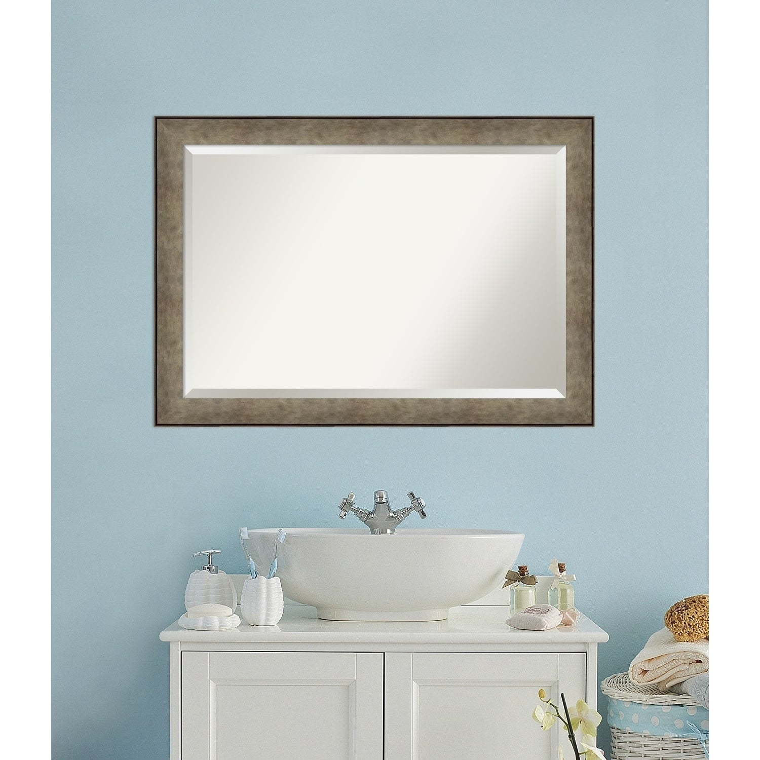 Shop Bathroom Mirror, Pounded Metal - Free Shipping Today ...
