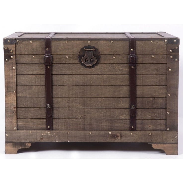 Old Fashioned Large Natural Wood Storage Trunk And Coffee Table Free Shipping Today 24033728