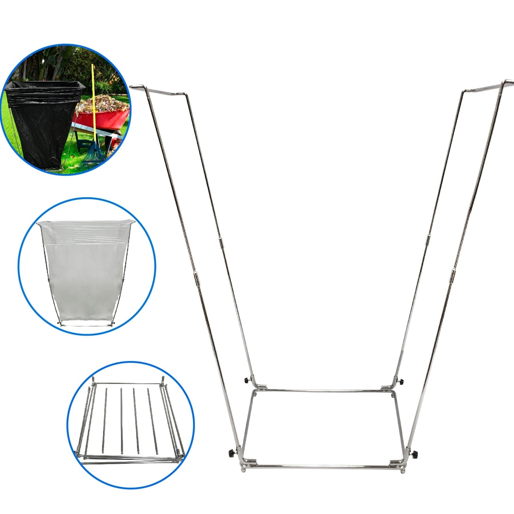Easygo Trash Bag Holder Leaf Stand Multi Use Garbage Frame Holds 30 45 Gallon Bags Free Shipping On Orders Over