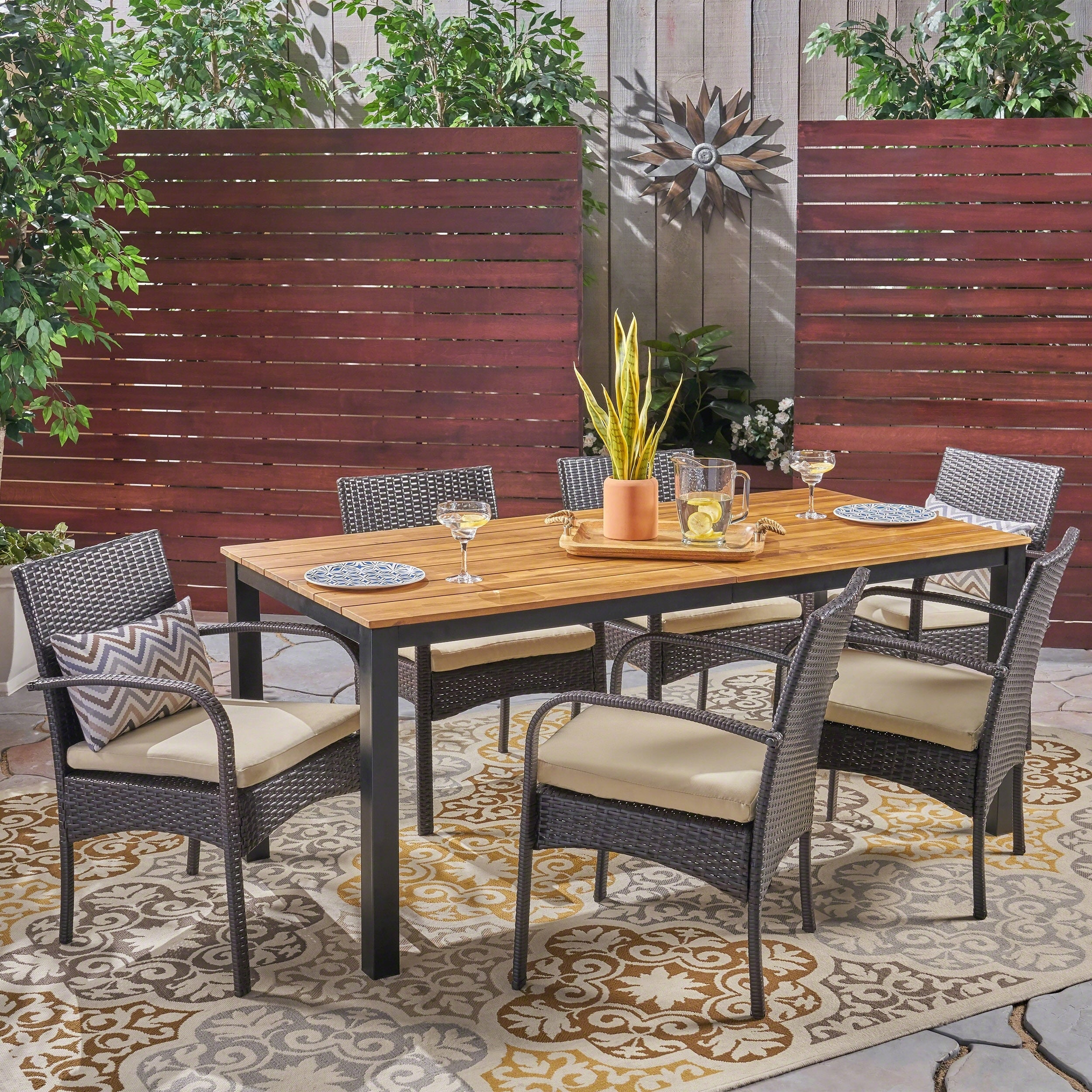 shop ballard outdoor 7 piece acacia wood dining set with wicker