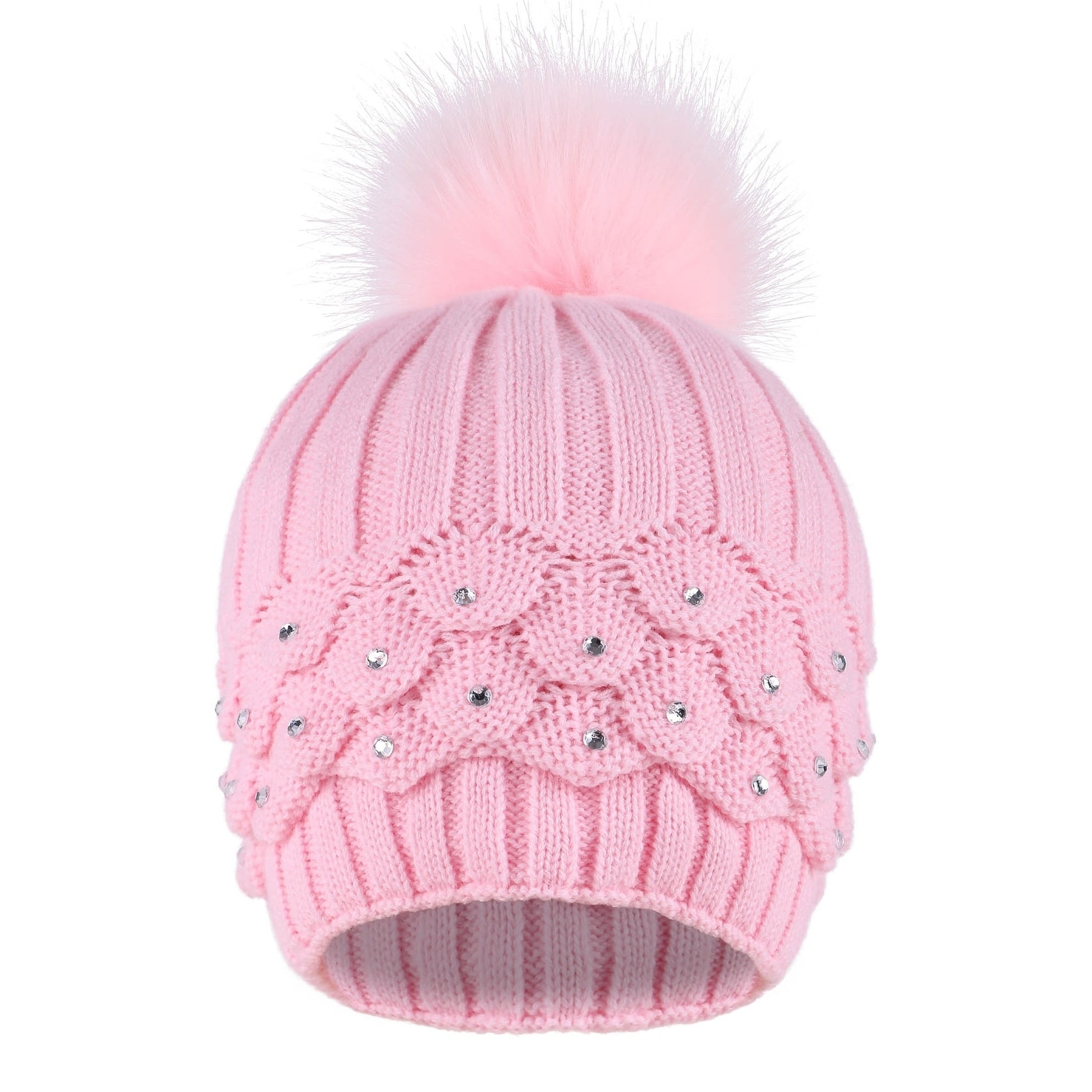 50692bba054e35 Shop Faux Fur Winter Cable Knit Pom Pom Beanie for Women w/ Sequins - On  Sale - Free Shipping On Orders Over $45 - Overstock - 24072255