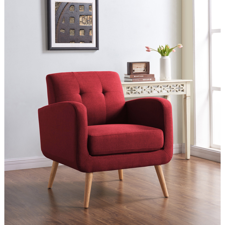 Handy living kingston mid century modern red linen arm chair