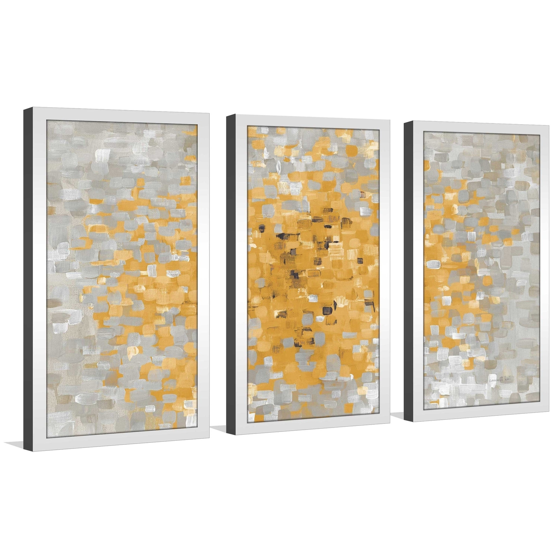 Summer blocks with gray framed acrylic wall art set yellow