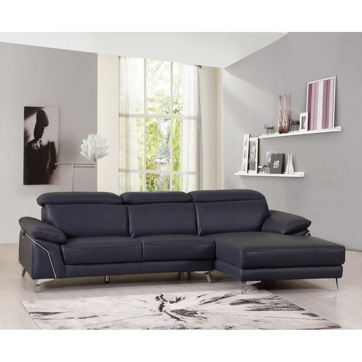 Shop Modern Adjustable Headrest Leather Living Room Sectional Sofa