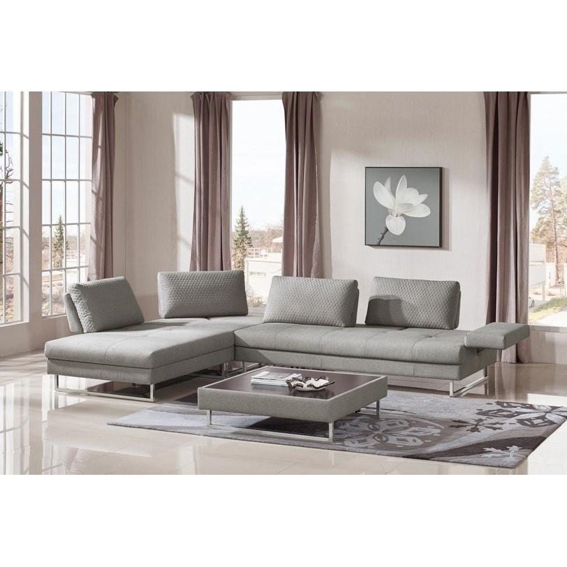 Shop Divani Casa Baxter Modern Gray Fabric Sectional Sofa And Coffee