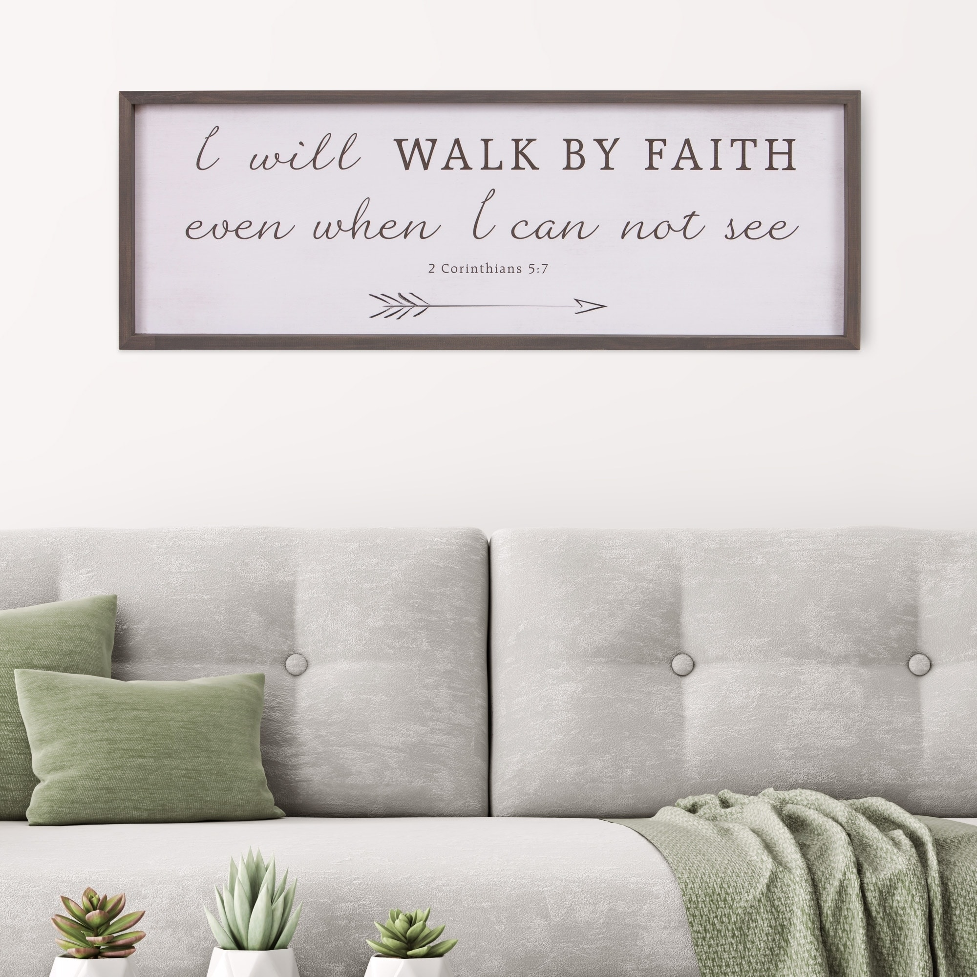 Shop patton wall decor walk by faith bible verse rustic wood framed wall art décor 12x36 white free shipping today overstock 24081195