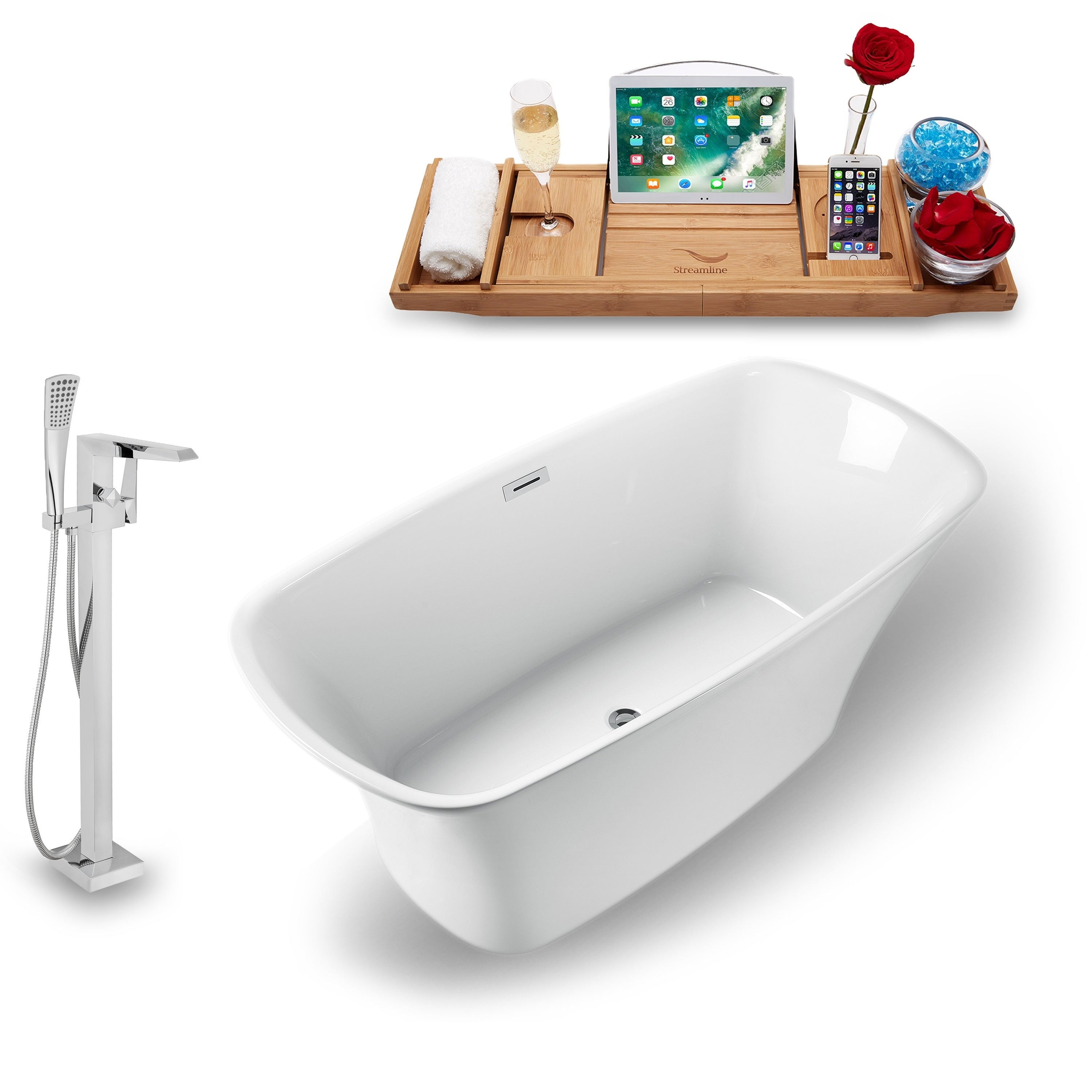 Shop Streamline 59 Inch Freestanding Tub Faucet And Tray Set