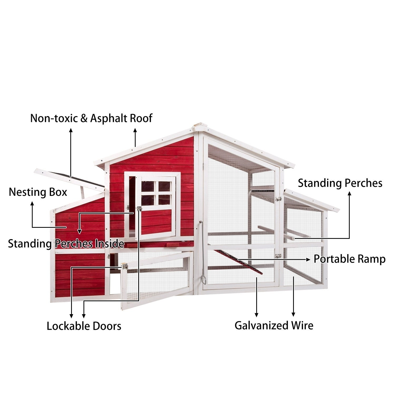 Shop Kinbor 45 Large Backyard Chicken Coop Hen House With Removable Running Wiring Under Tray Run Area Nesting Box On Sale Free Shipping Today 24089359