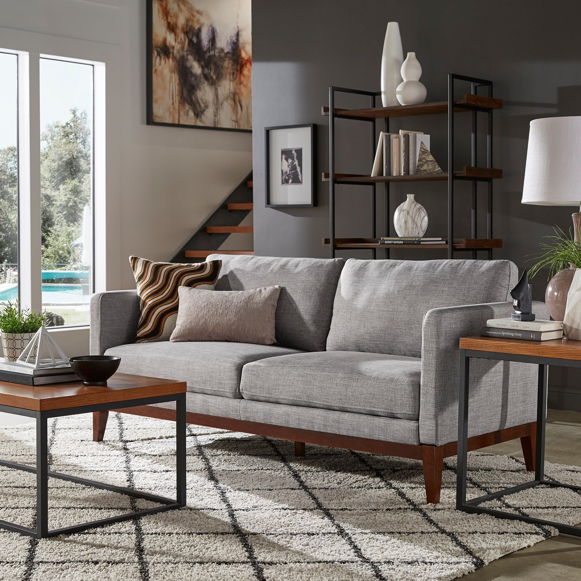 Shop vail linen upholstered sofa and loveseat by inspire q modern free shipping today overstock com 24097608